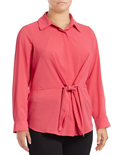 I.N.C International Concepts Plus Tie Front Button-Down Shirt-CORAL-1X