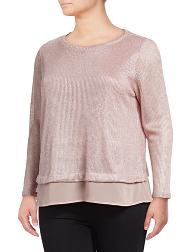 I.N.C International Concepts Plus Metallic Underlay Sweatshirt-MAUVE-1X