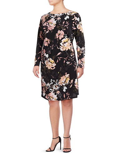 I.N.C International Concepts Plus Ruched Waist Long-Sleeve Dress-BLACK-2X