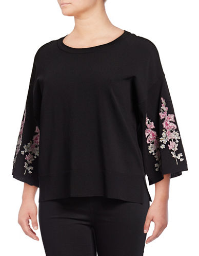 I.N.C International Concepts Plus Embroidered Kimono-Sleeve Top-BLACK-1X