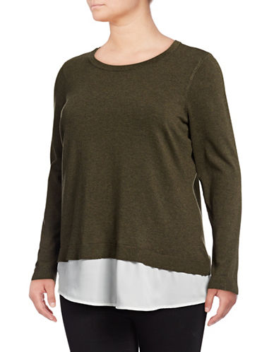 I.N.C International Concepts Plus Back Lace Up Layered Top-GREEN-2X