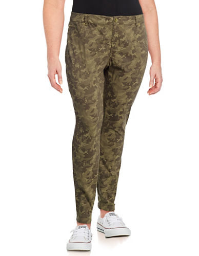 I.N.C International Concepts Plus Camo Printed Cotton-Blend Pants-GREEN-18W