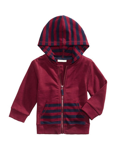 First Impressions Striped Thermal Hoodie-RED-18 Months