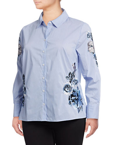 I.N.C International Concepts Plus Plus Embroidered Button-Down Shirt-BLUE-1X