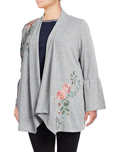 I.N.C International Concepts Plus Embroidered Open Front Cardigan-GREY-1X