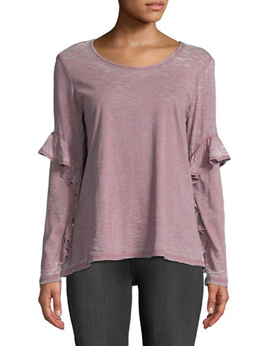 Style And Co. Scoop Neck Long-Sleeve Ruffle Top-PURPLE-Small