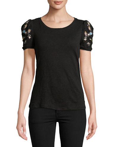 I.N.C International Concepts Petite Embellished Short-Sleeve Cotton Tee-BLACK-Petite Small