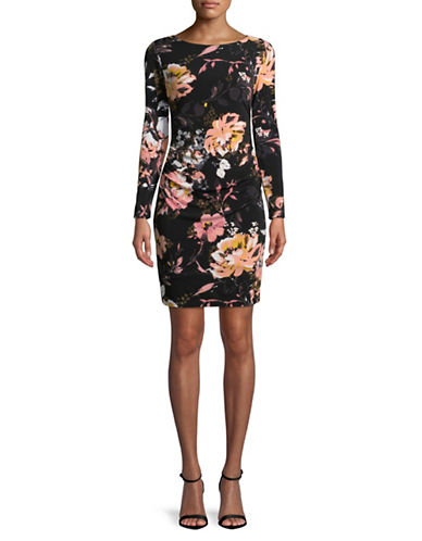 I.N.C International Concepts Petite Rouched Floral Print Sheath Dress-BLACK-Petite Medium