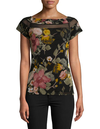 I.N.C International Concepts Petite Floral-Print Short Sleeve Top-BLACK-Petite Small