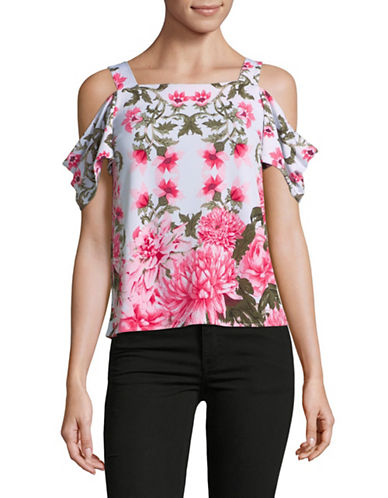 I.N.C International Concepts Petite Floral Cold-Shoulder Top-WHITE-Petite X-Small