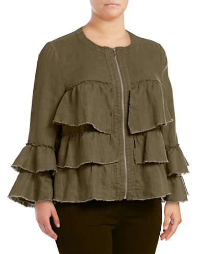 I.N.C International Concepts Plus Raw Ruffle Linen Jacket-GREEN-1X