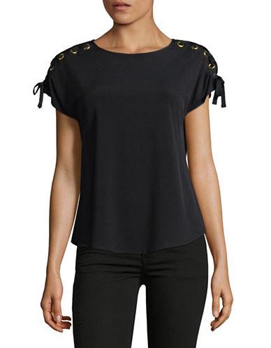 I.N.C International Concepts Lace-Up Shoulder Short-Sleeve Top-BLACK-Medium