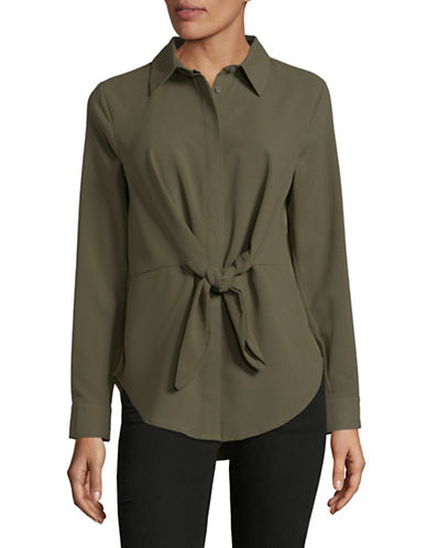 I.N.C International Concepts Tie Front Button-Down Shirt-OLIVE-Large