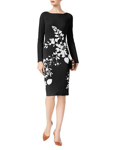 I.N.C International Concepts Floral Long-Sleeve Sheath Dress-BLACK-Medium