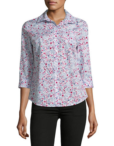 Karen Scott Petite Petite Daisy Cotton Button-Down Shirt-WHITE-Petite Medium