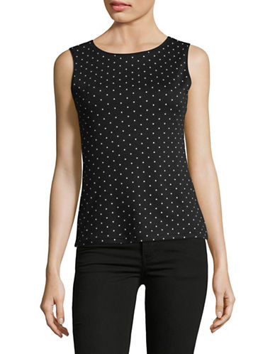 Karen Scott Petite Dot Boat Neck Tank Top-BLACK-Petite Large