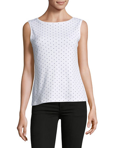 Karen Scott Petite Dot Boat Neck Tank Top-WHITE-Petite Small