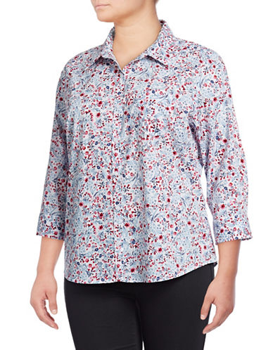 Karen Scott Plus Plus Daisy Cotton Button-Down Shirt-MULTI-2X