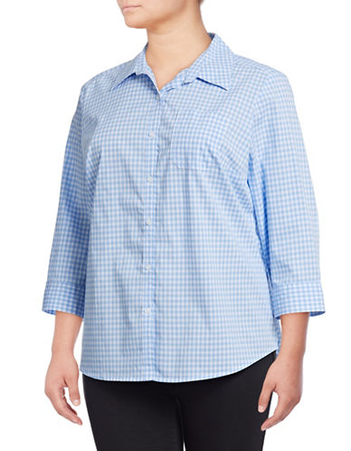 Karen Scott Plus Plus Gingham Cotton Button-Down Shirt-BLUE-3X