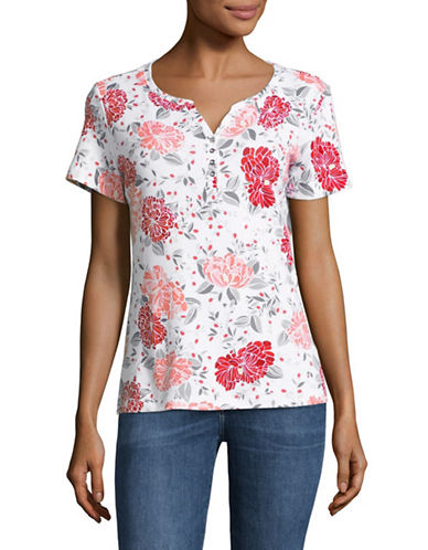 Karen Scott Floral Short-Sleeve Henley-RED-Medium