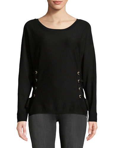 I.N.C International Concepts Grommet Lace-Up Sweater-BLACK-X-Large
