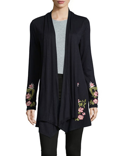 I.N.C International Concepts Embroidered Floral Cardigan-BLACK-Small