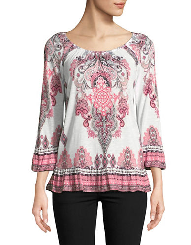 I.N.C International Concepts Paisley Flounce Peasant Top-MULTI-X-Large