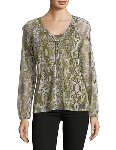 I.N.C International Concepts Snake-Print Lace-Up Top-GREEN-Medium