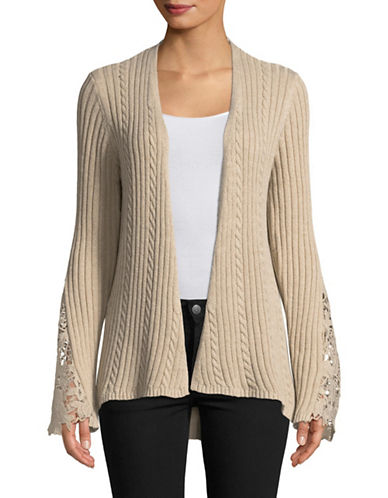 I.N.C International Concepts Lace-Inset Cardigan-BEIGE-Medium