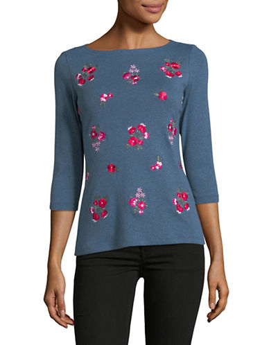Karen Scott Petite Embroidered Floral Cotton Top-BLUE-Petite X-Large
