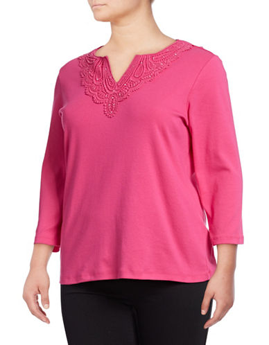 Karen Scott Plus Plus Crochet Stud Cotton Top-PINK-2X