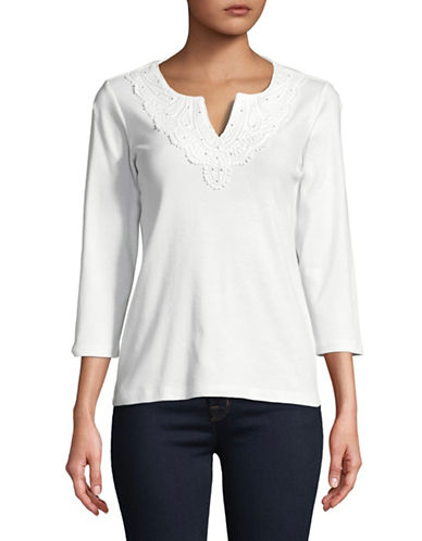 Karen Scott Embellished Lace Cotton Top-WHITE-Small