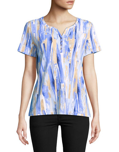 Karen Scott Paint Print Short-Sleeve Henley-BLUE-XX-Large