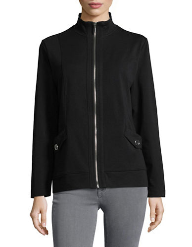 Karen Scott Long-Sleeve Mock Neck Jacket-BLACK-X-Large