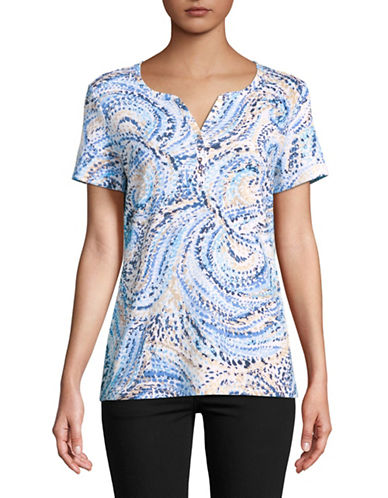 Karen Scott Eva Swirl Short-Sleeve Henley-BLUE-XX-Large