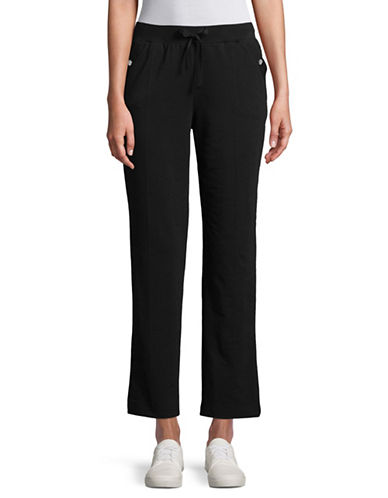 Karen Scott French Terry Pants-BLACK-Large