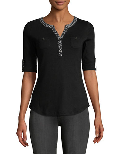 Karen Scott Cotton Roll Sleeve Henley-BLACK-Medium
