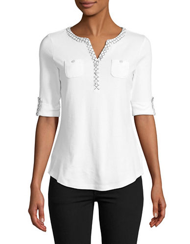 Karen Scott Cotton Roll Sleeve Henley-WHITE-X-Large