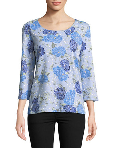 Karen Scott Floral-Print Three-Quarter Top-BLUE-X-Large