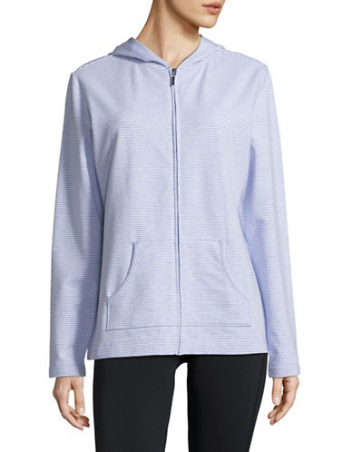 Karen Scott Striped Full-Zip Hoodie-LIGHT BLUE-Medium