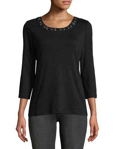 Karen Scott Grommet Scoop Neck Top-BLACK-Large