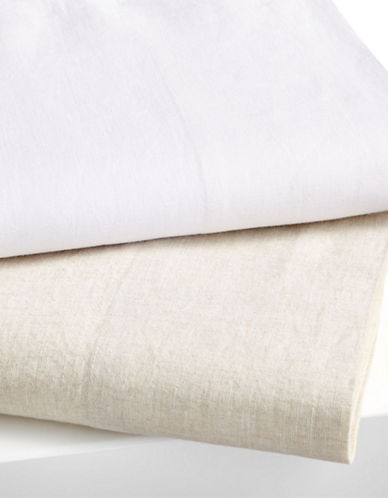 Hotel Collection Two-Piece Flax Linen Pillowcase Set-WHITE-Standard
