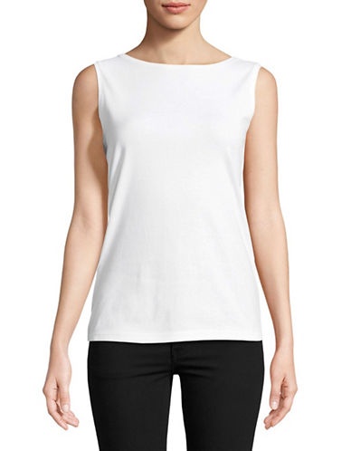 Karen Scott Boat Neck Tank Top-WHITE-Small