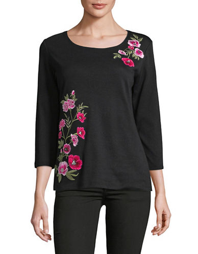 Karen Scott Climb Rose Cotton Top-BLACK-Small