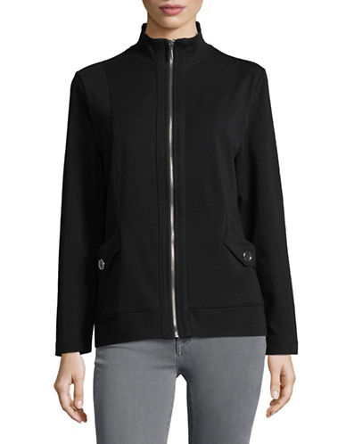 Karen Scott Petite Terry Mock Jacket-BLACK-Petite Small
