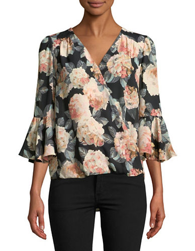 I.N.C International Concepts Floral Surplice Blouse-BLACK-X-Large