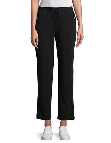 Karen Scott Petite French Terry Pants-BLACK-Petite Medium