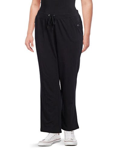Karen Scott Plus French Terry Pants-BLACK-1X