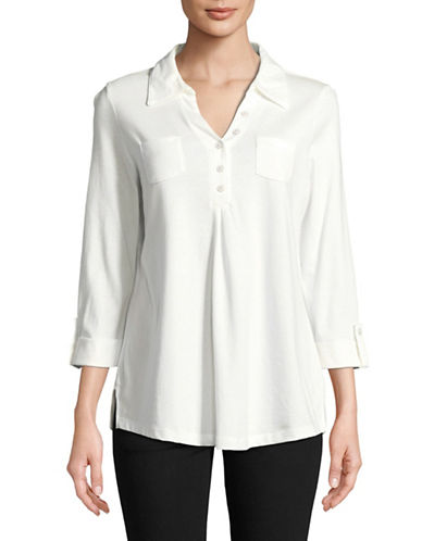 Karen Scott Long-Sleeve Tunic-WHITE-Small