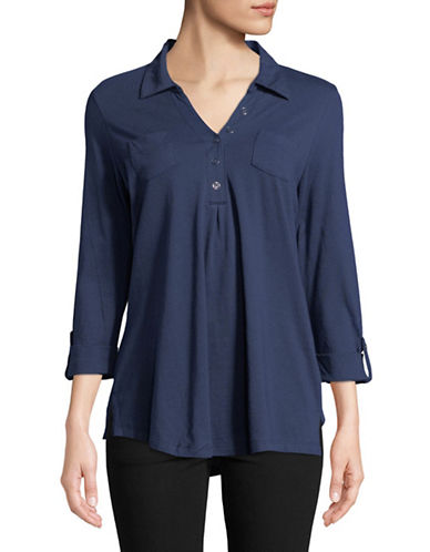 Karen Scott Long-Sleeve Tunic-BLUE-Small